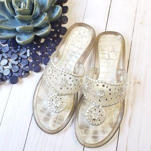 68d367b59106 Stuart Weitzman. Indiana Rhinestone Embellished Jelly Sandals 7